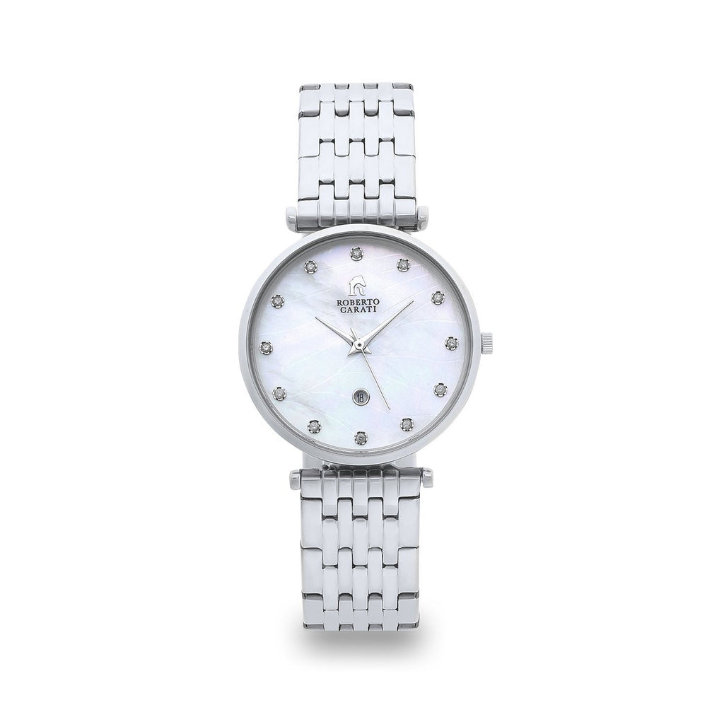 Roberto Carati Elizabeth Diamond Face Silver Watch Watches Roberto Carati