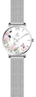 Roberto Carati Pippa Peonies and Butterfly Rose Silver Mesh Watch Watches Roberto Carati