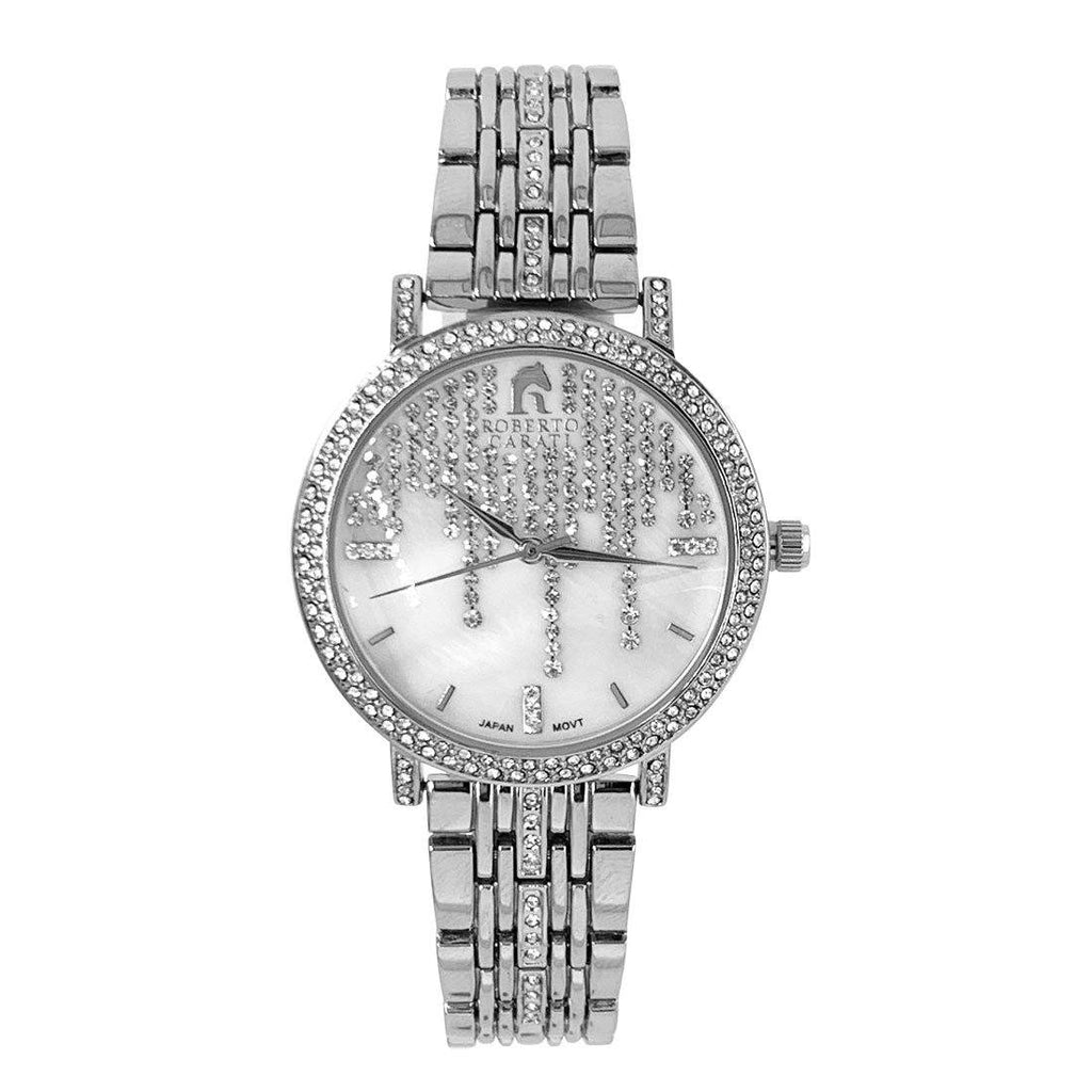 Roberto Carati Lauren Crystal Face Silver Watch M8075+BE-F2 Watches Roberto Carati