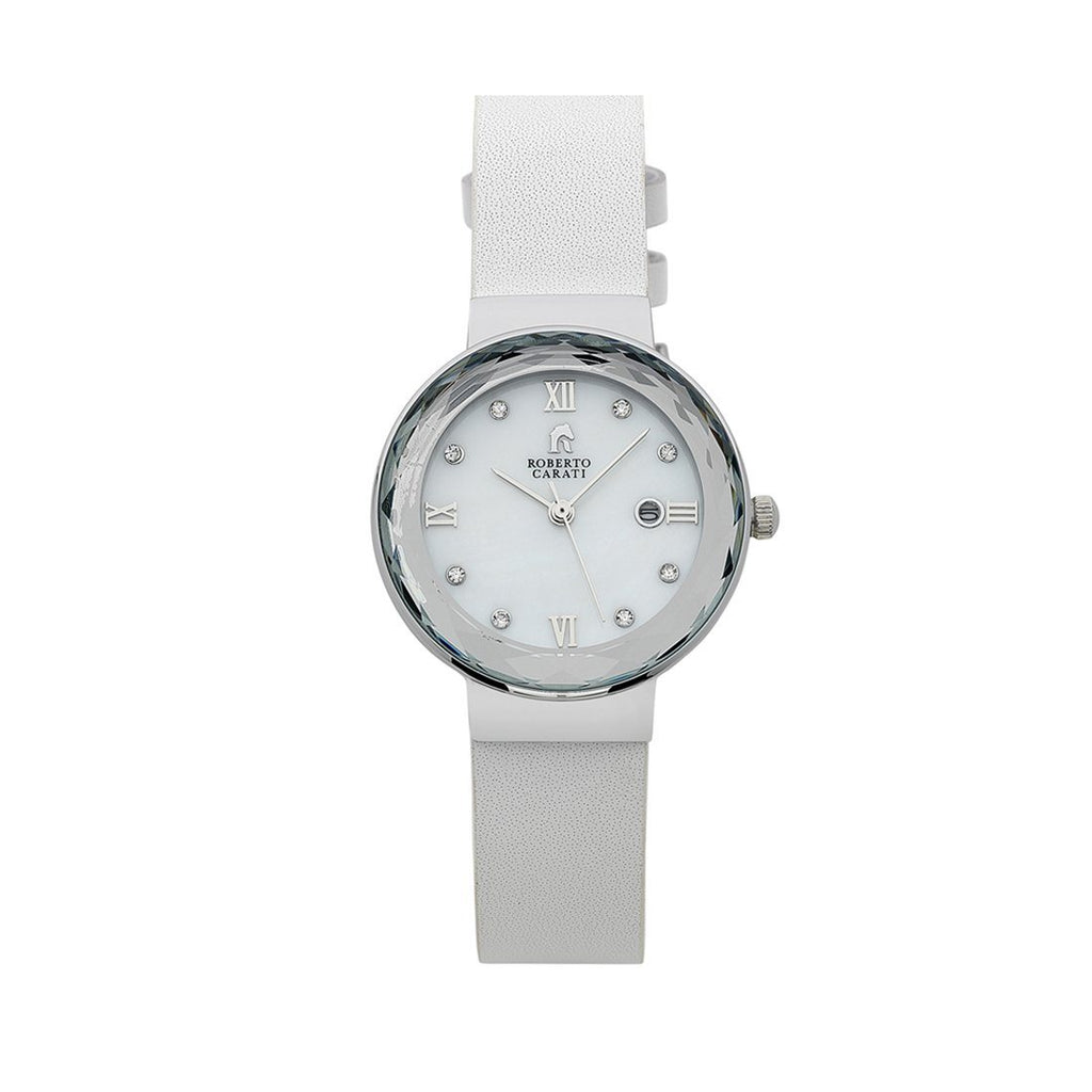 Roberto Carati Nancy Silver Crystal Leather Ladies Watch