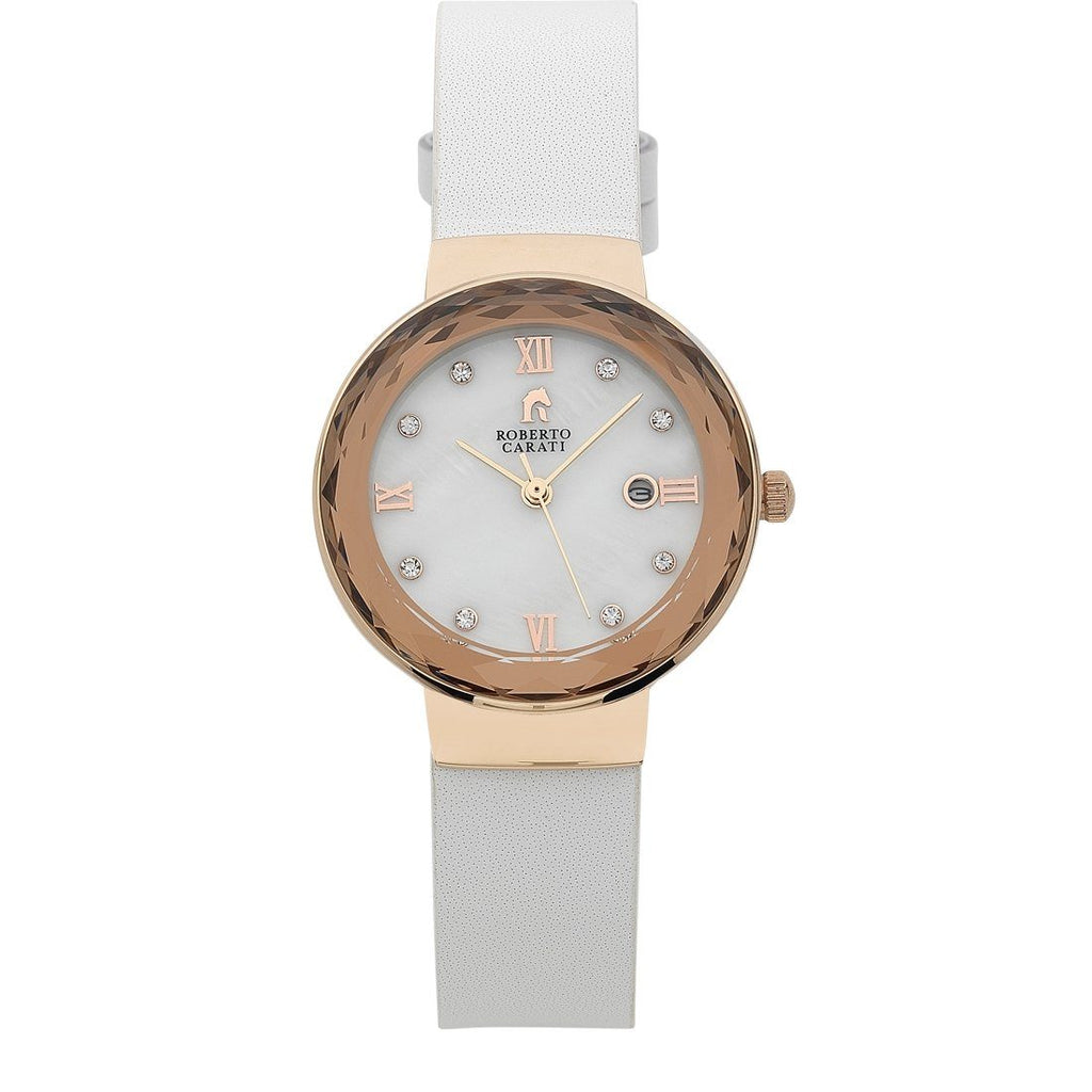 Roberto Carati Nancy Rose Gold Bezel White Leather Ladies Watch