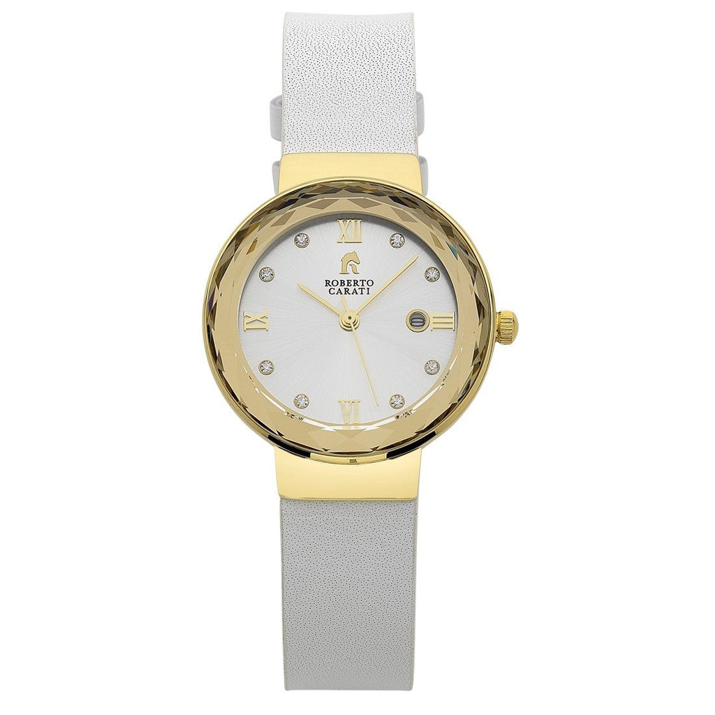 Roberto Carati Nancy Gold, Silver & White Leather Ladies Watch Watches Roberto Carati