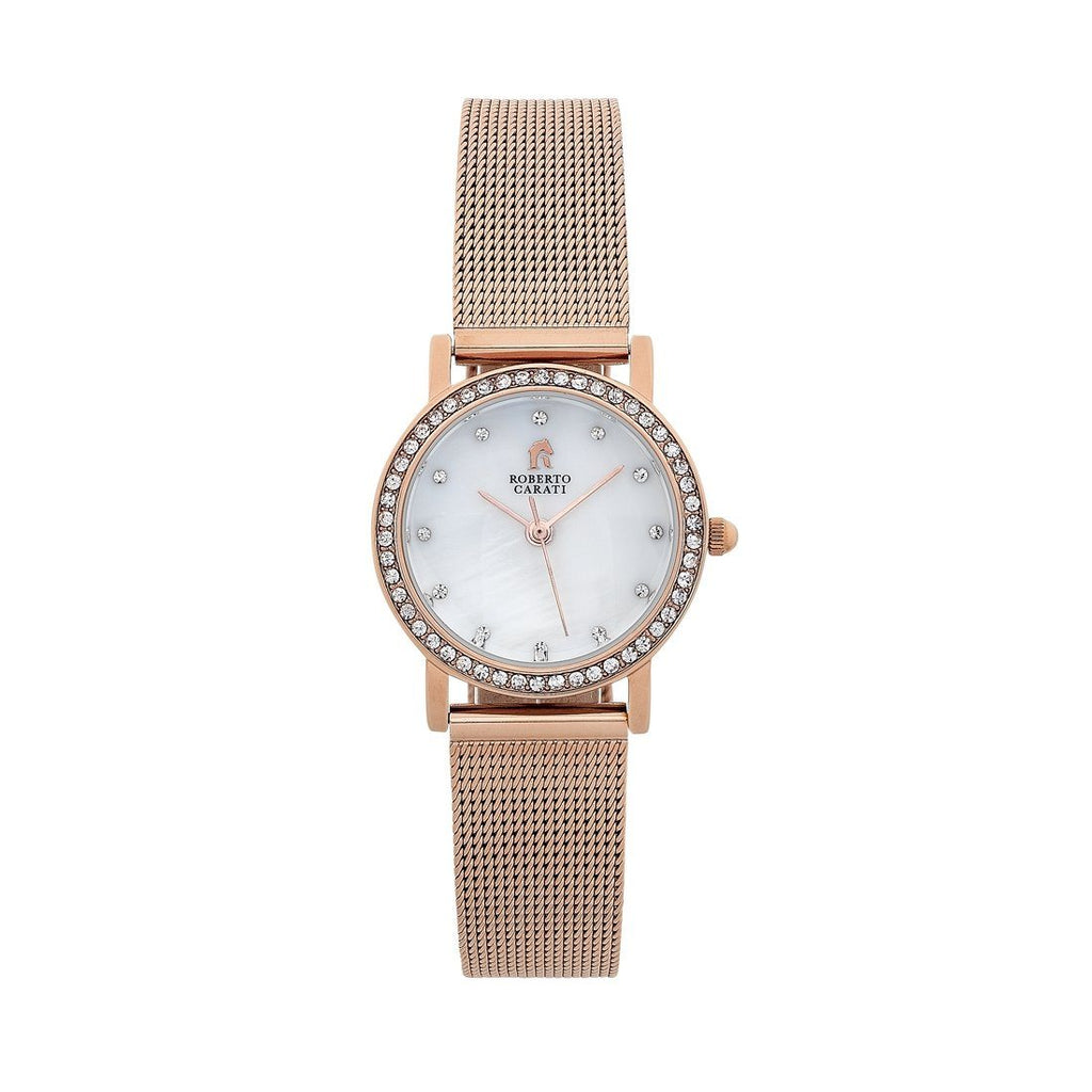 Roberto Carati Sandy Rose Gold Mesh Band Watch