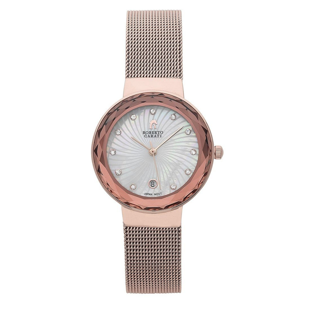 Roberto Carati Nora Rose Gold Mesh Ladies Watch Watches Roberto Carati