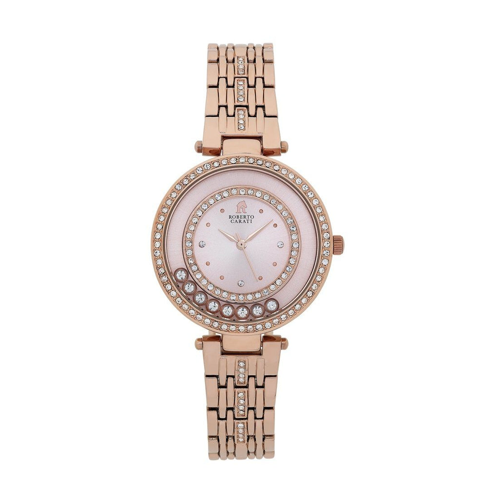 Roberto Carati Tora Crystal Case Rose Tone Watch Watches Roberto Carati