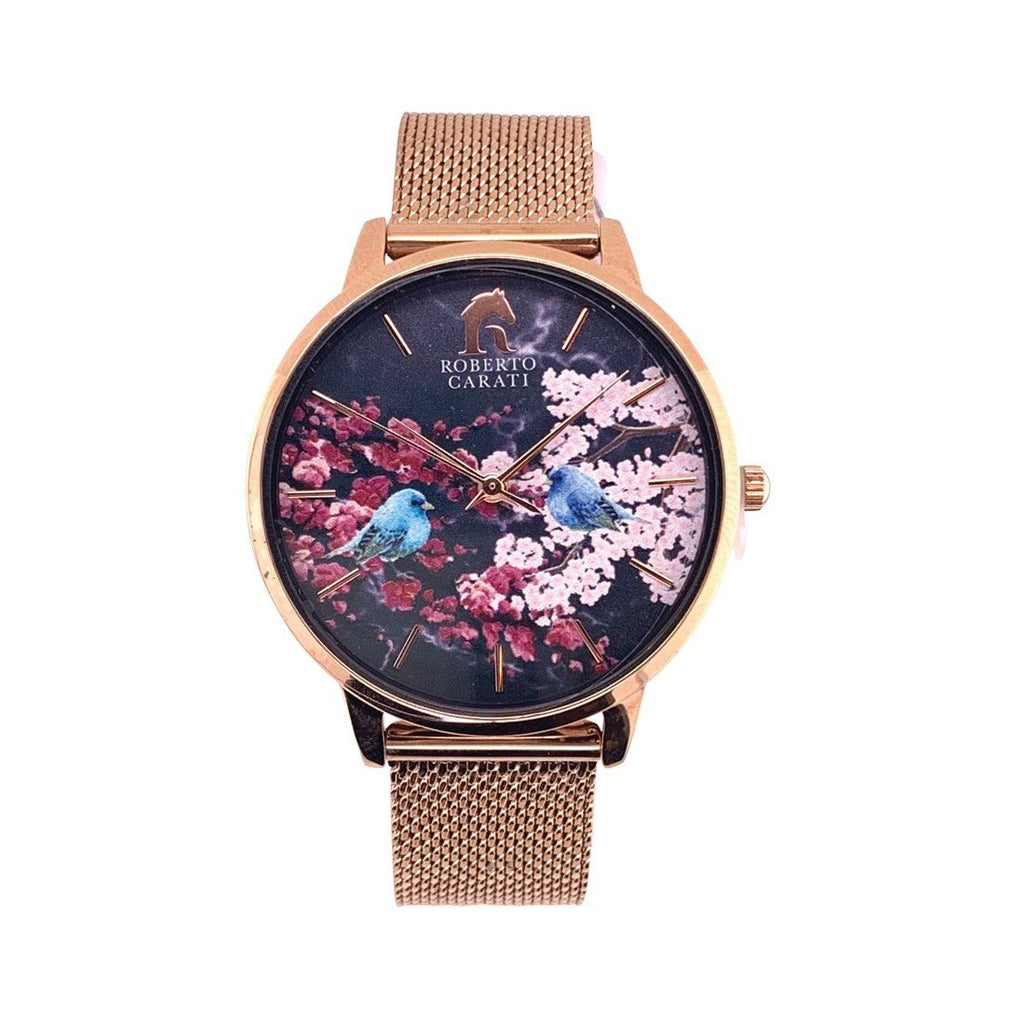 Roberto Carati Tyra Rose Gold Floral Watch