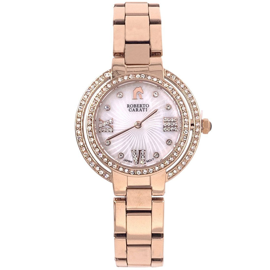 Roberto Carati Ambrosia Mother of Pearl & Crystals Rose Gold Watch Watches Roberto Carati