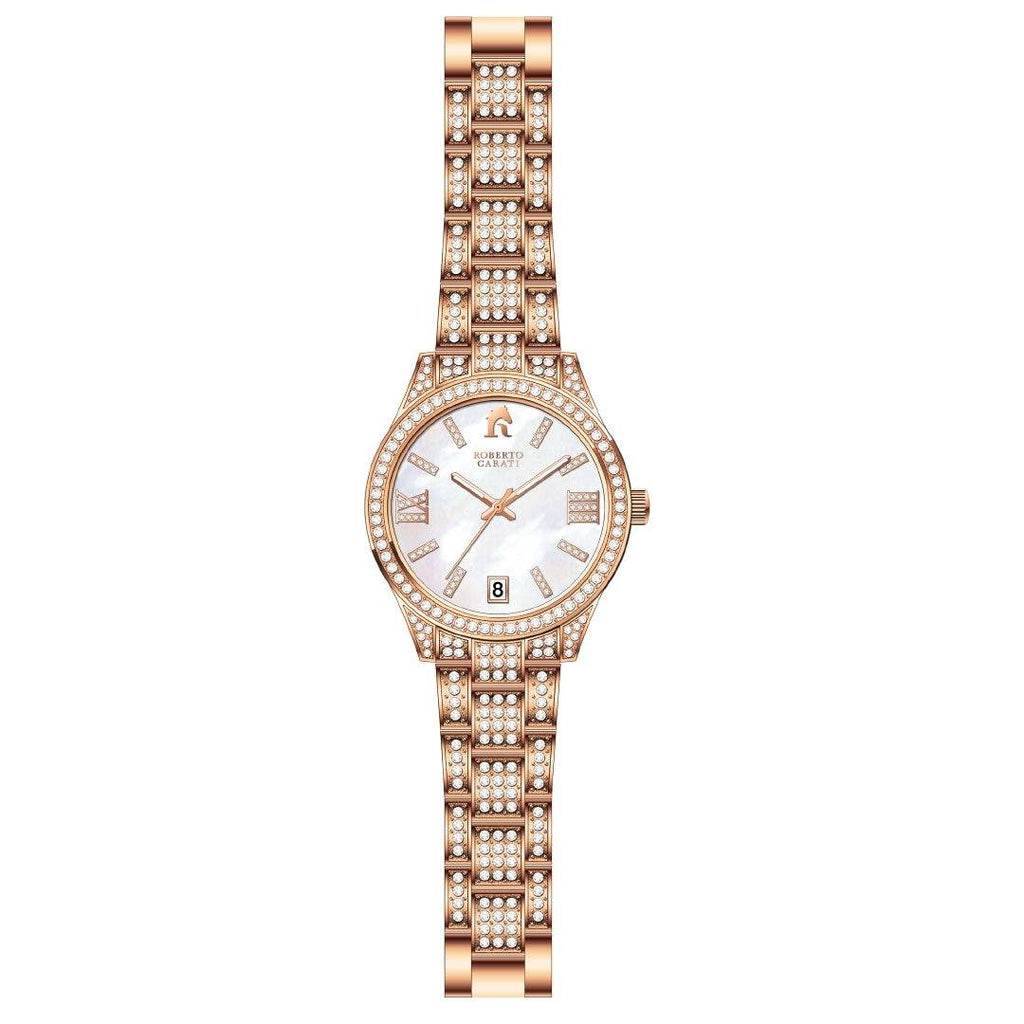 Roberto Carati Gemma Rose Mother of Pearl Crystal Watch Watches Roberto Carati