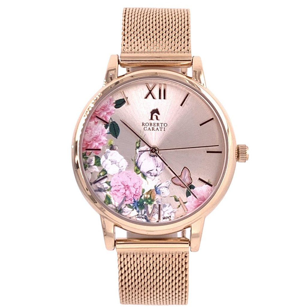 Roberto Carati Pippa Ponies and Butterfly Rose Gold Mesh Watch Watches Roberto Carati