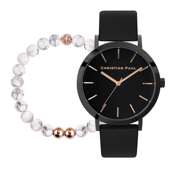 Christian Paul Raw Black Watch with Marble Bead Bracelet