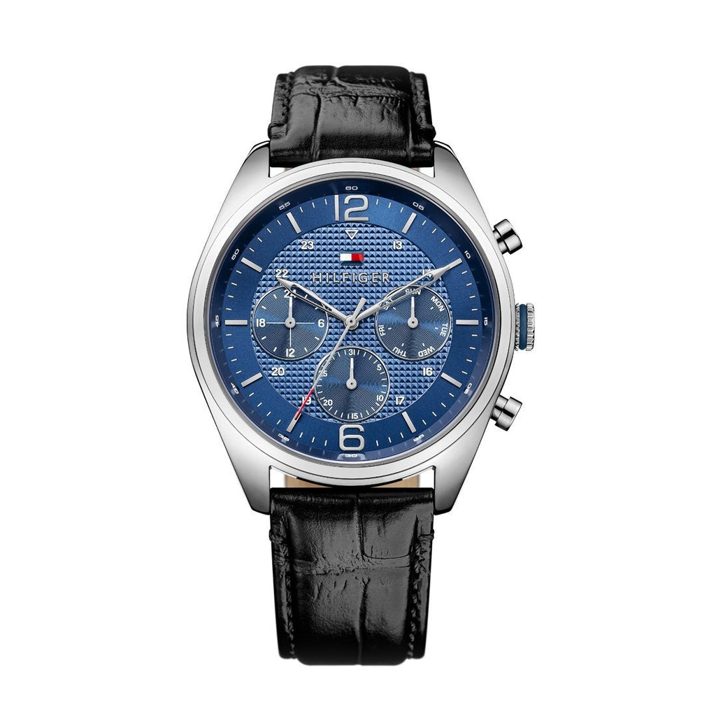 Tommy Hilfiger Black Leather Strap Blue Face Watch 1791182 Watches Tommy Hilfiger