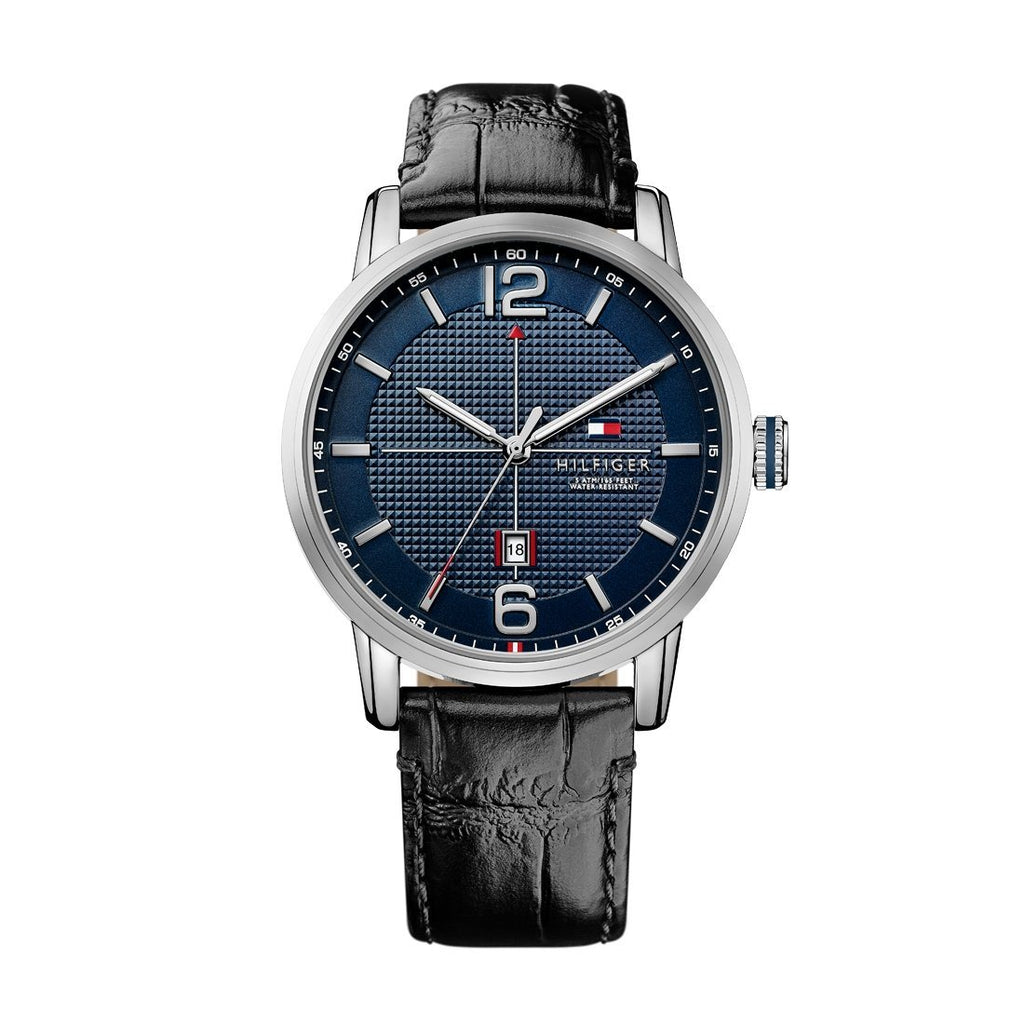 Tommy Hilfiger George Black Leather Blue Face Watch 1791216