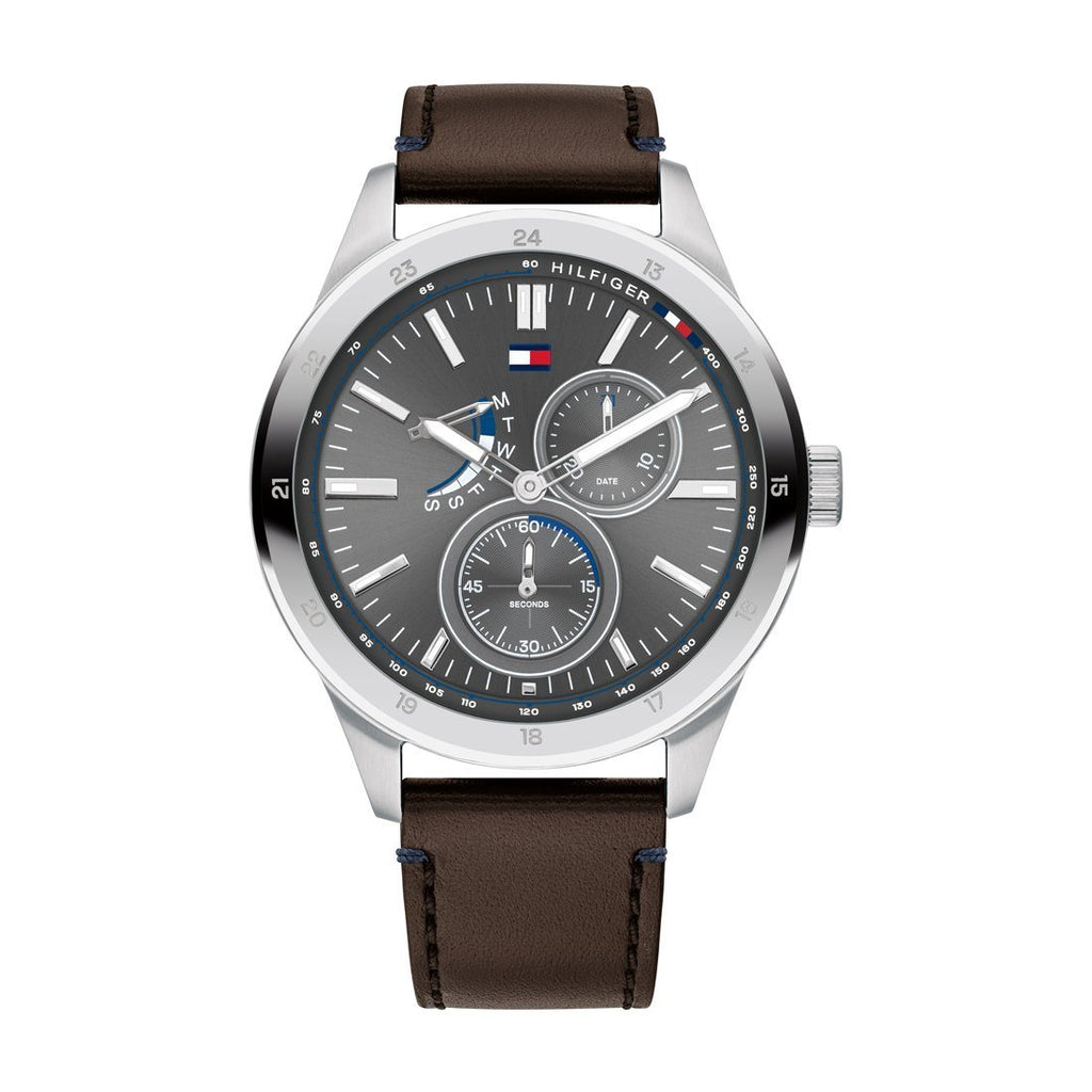 Tommy Hilfiger Austin Grey Brown Leather Watch 1791637