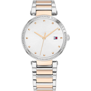 Tommy Hilfiger Ladies Lynn Two-Tone Silver & Rose Crystal Watch 1782236