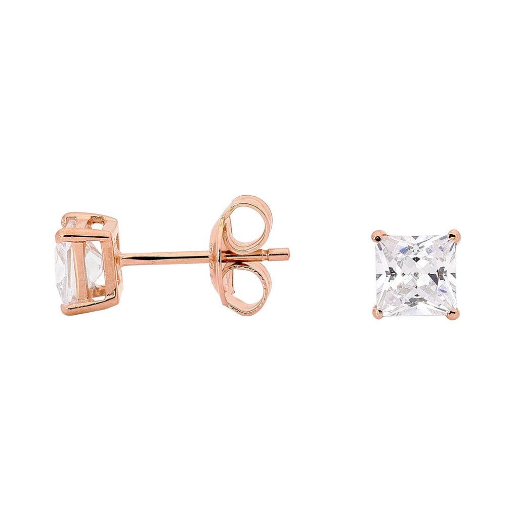 GEORGINI 5MM CLEAR SQUARE STUD ROSE GOLD Bevilles Jewellers