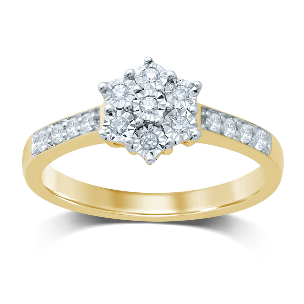 Brilliant Claw Set Ring with 0.15ct of Diamonds in 9ct Yellow Gold
