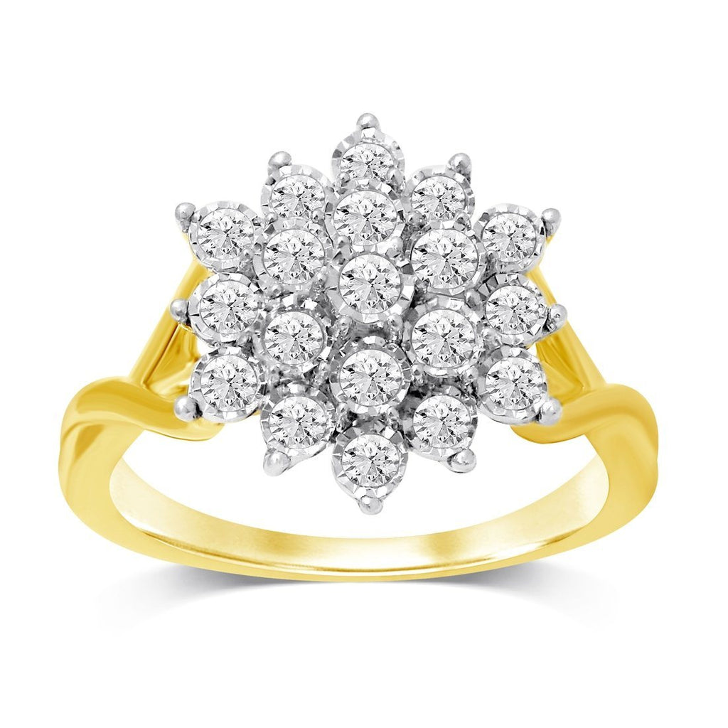Miracle Cluster Ring with 1/2ct of Diamonds in 9ct Yellow Gold