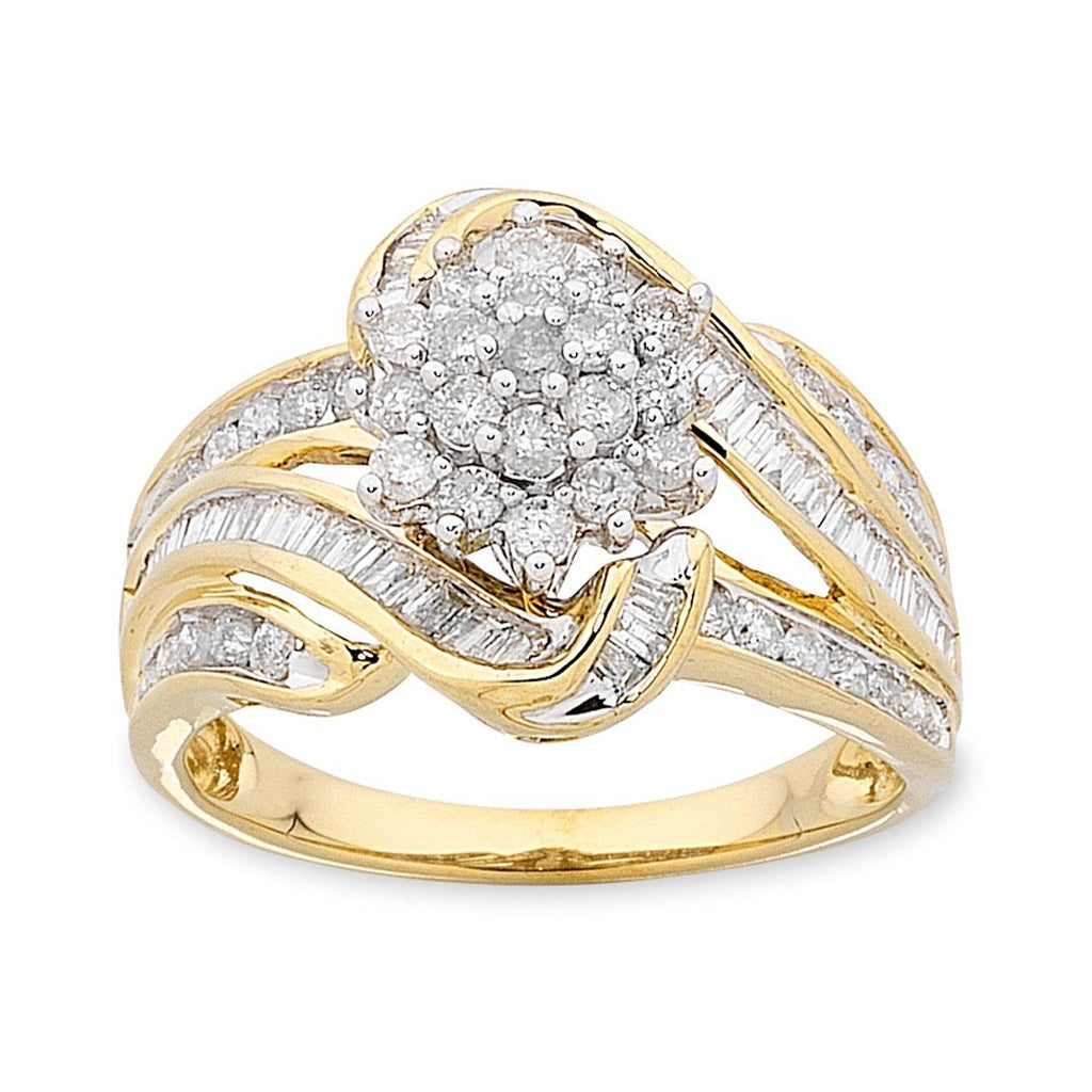 Cluster Ring with 1.00ct of Diamonds in 9ct Yellow Gold