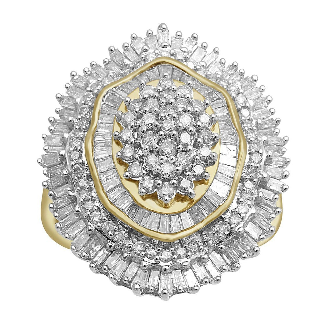 Flower Cluster Ring with 1.50ct of Diamonds in 9ct Yellow Gold Rings Bevilles