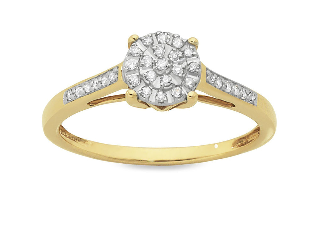 Martina Ring with 0.15ct of Diamonds in 9ct Yellow Gold