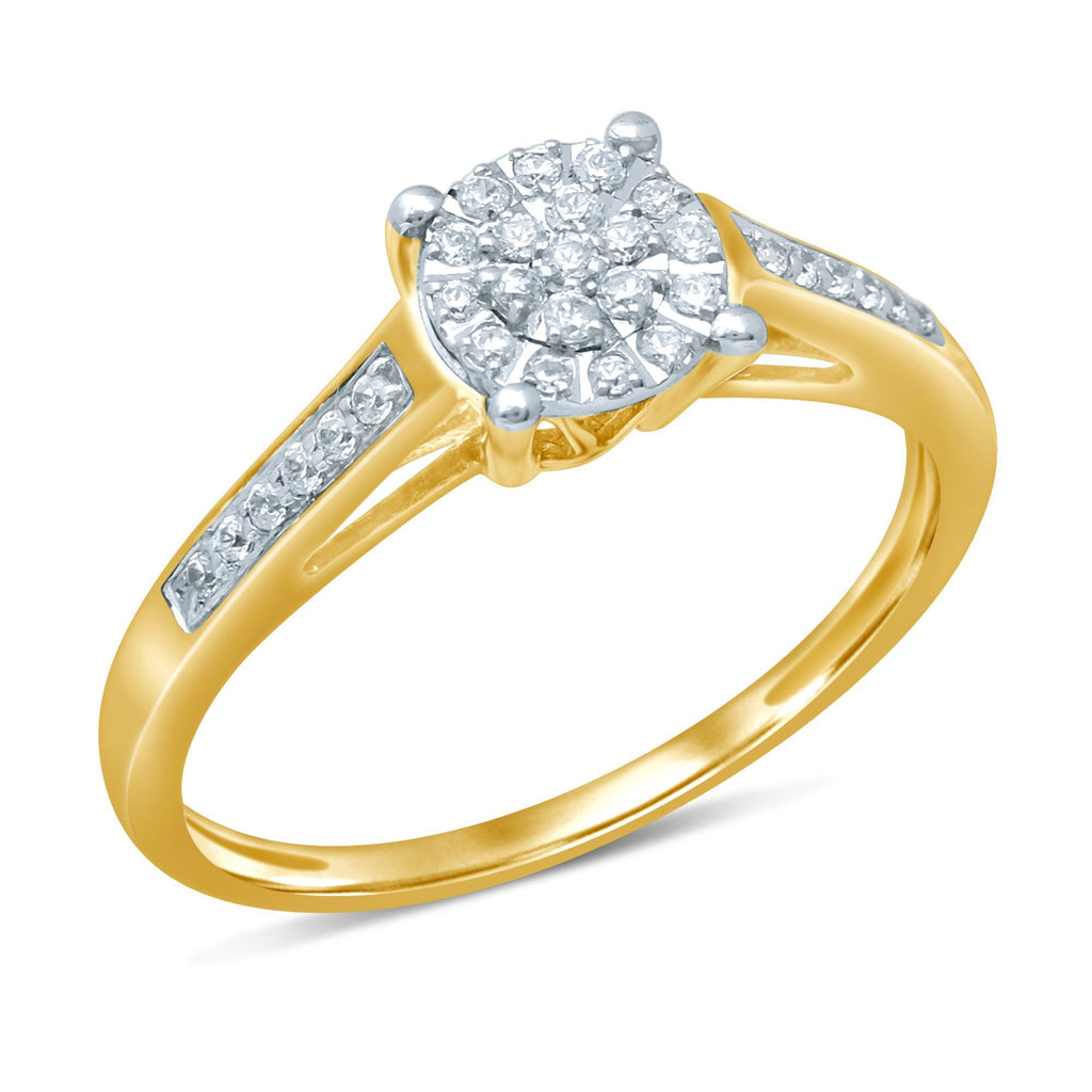 Martina Ring with 0.15ct of Diamonds in 9ct Yellow Gold Rings Bevilles