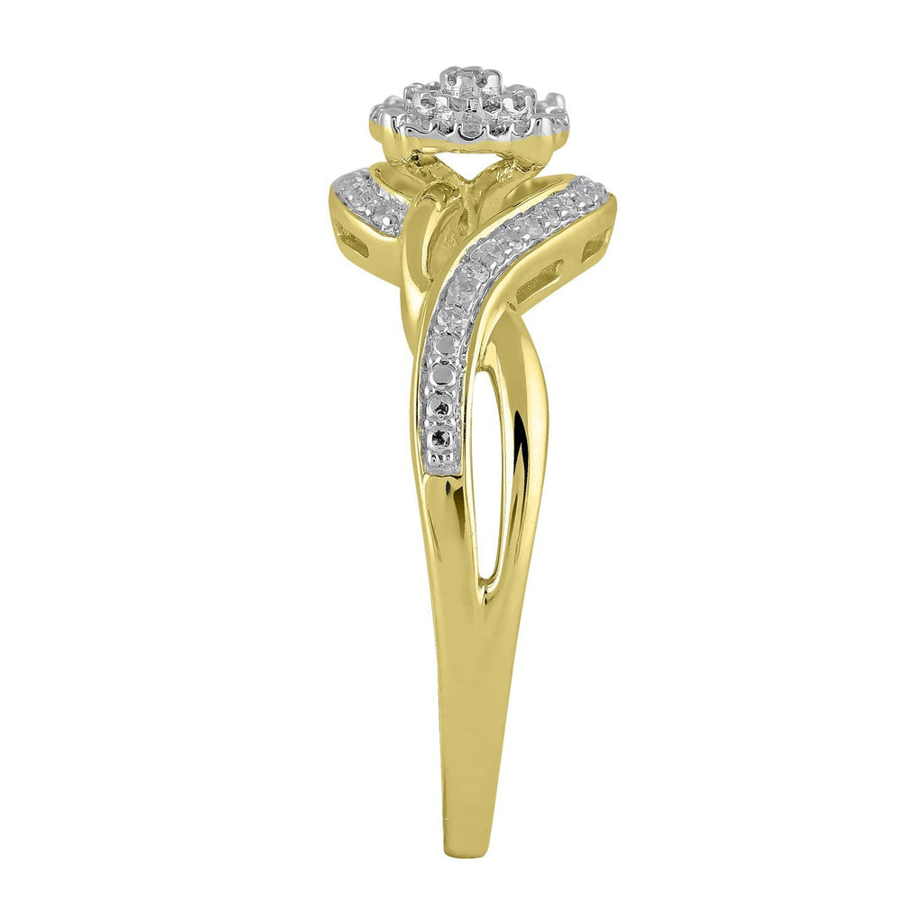 Solitaire Look Ring with 0.14ct of Diamonds in 9ct Yellow Gold Rings Bevilles