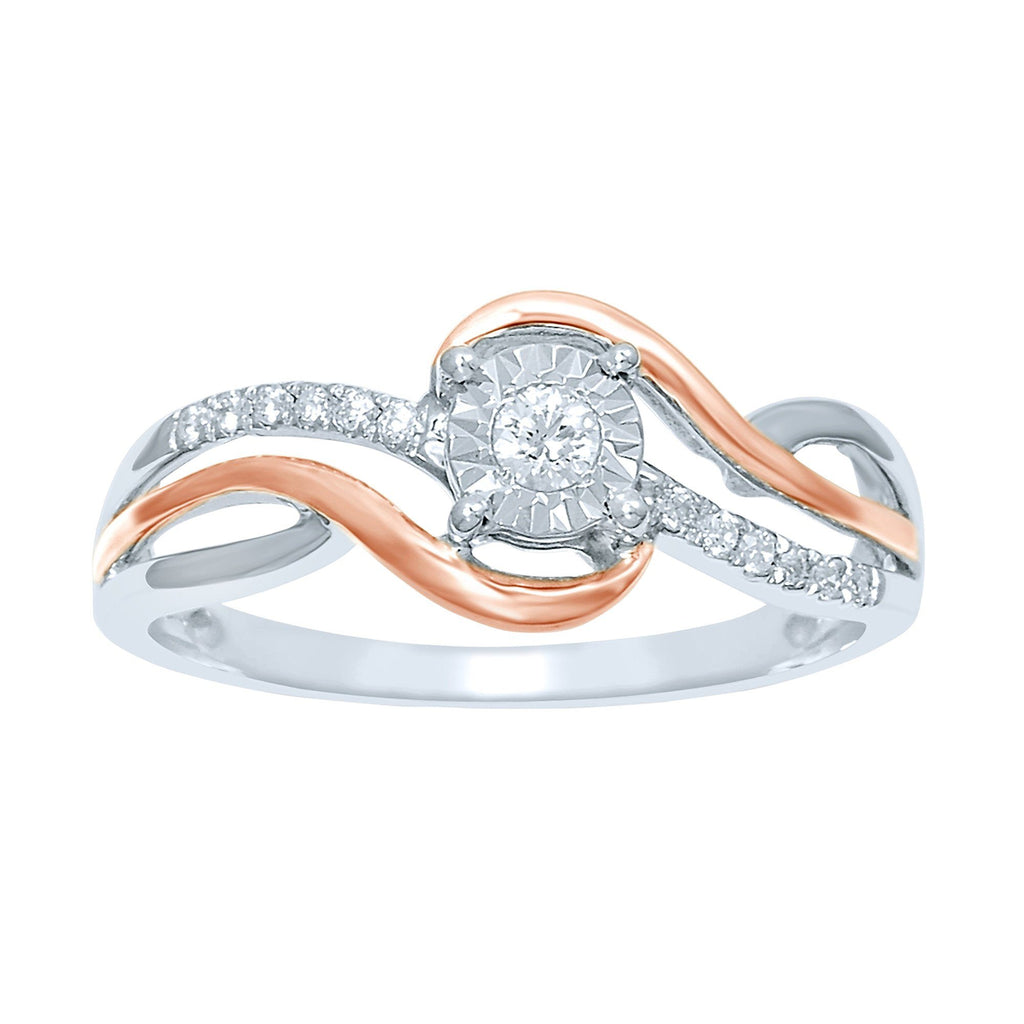 Brilliant Illusion Solitaire Ring with 0.10ct of Diamonds in 9ct White & Rose Gold Rings Bevilles