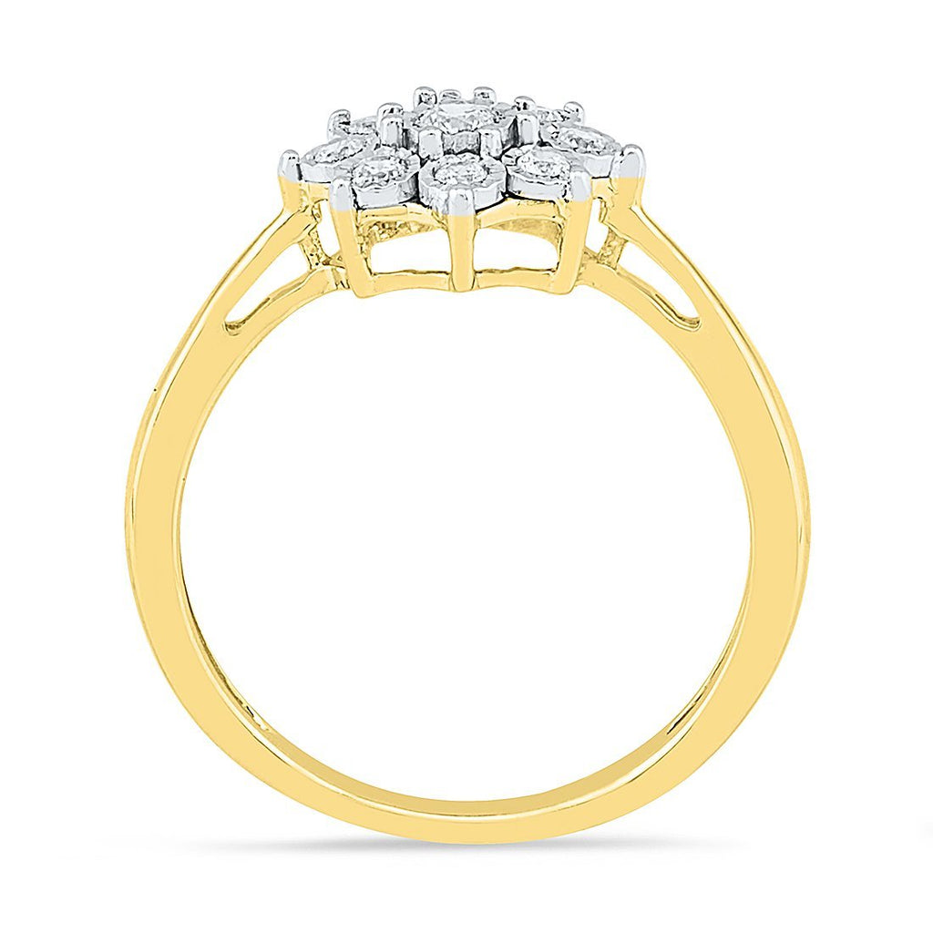 Brilliant Illusion Flower Ring with 0.15ct of Diamonds in 9ct Yellow Gold Rings Bevilles