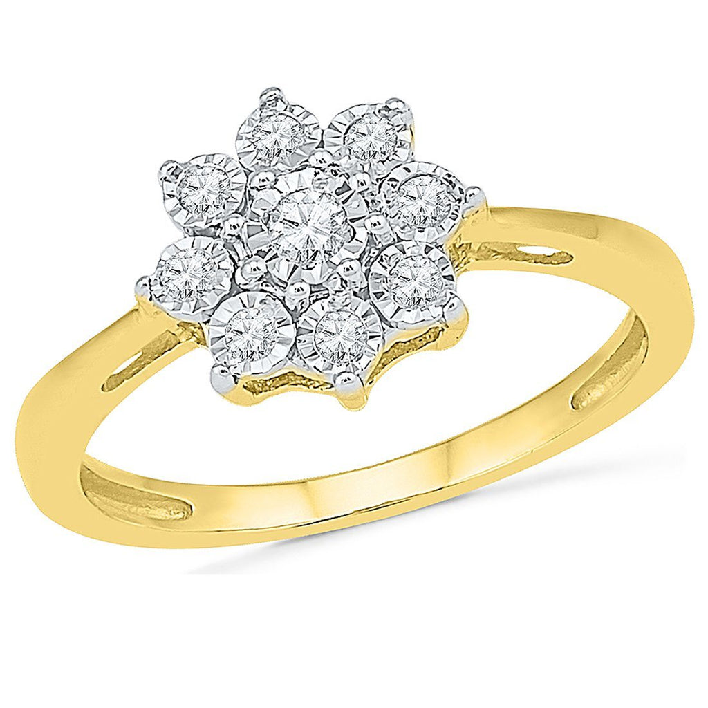 Brilliant Illusion Flower Ring with 0.15ct of Diamonds in 9ct Yellow Gold