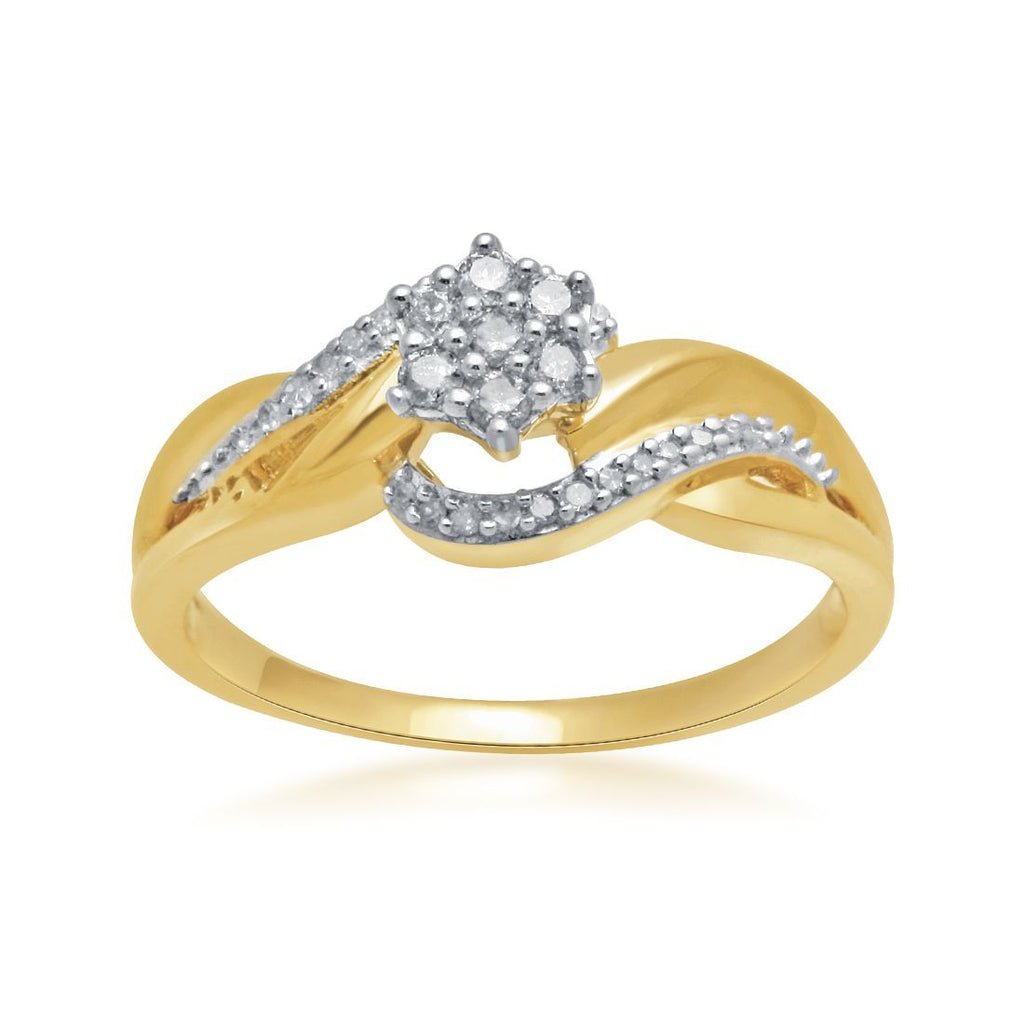 Flower Ring with 0.15ct of Diamonds in 9ct Yellow Gold