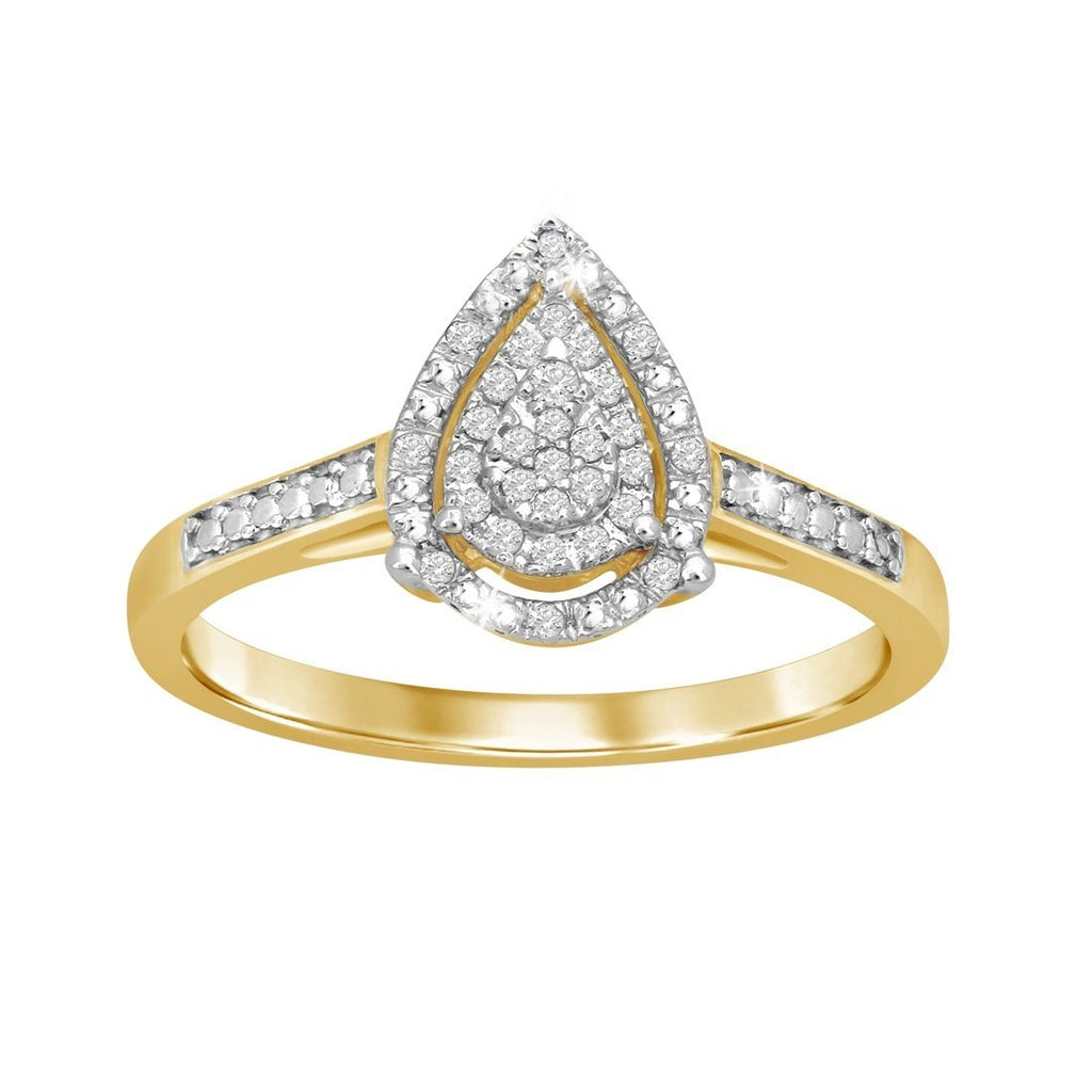 Pear Shape Halo Ring with 0.10ct of Diamonds in 9ct Yellow Gold Rings Bevilles