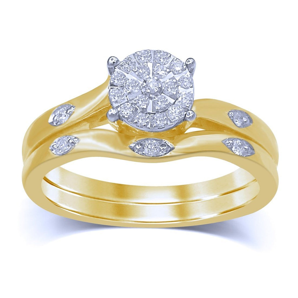 Martina Two Ring Set with 0.15ct of Diamonds in 9ct Yellow Gold Rings Bevilles
