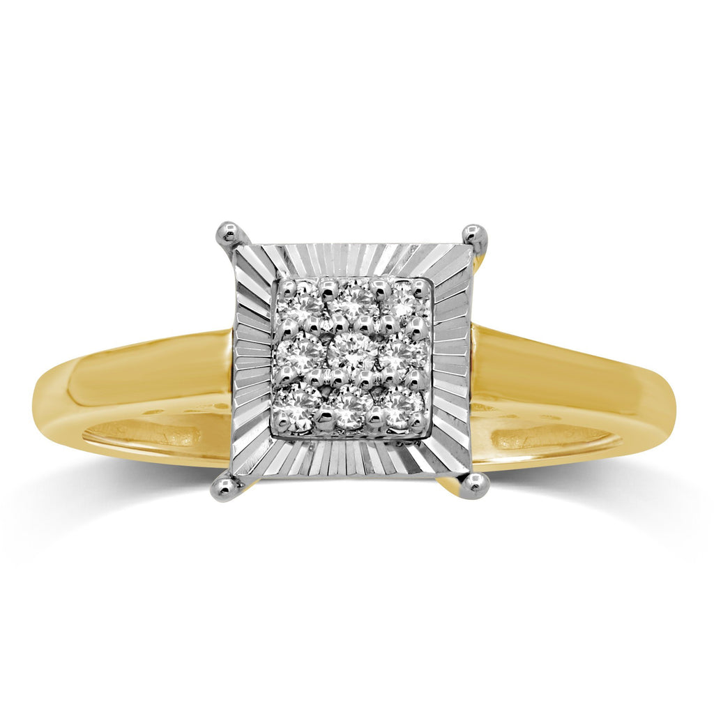 Brilliant Miracle Square Ring with 0.10ct of Diamonds in 9ct Yellow Gold Rings Bevilles