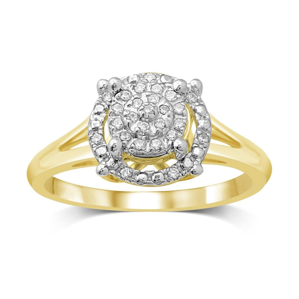 Martina Solitaire Look Ring with 0.10ct of Diamonds in 9ct Yellow Gold Rings Bevilles