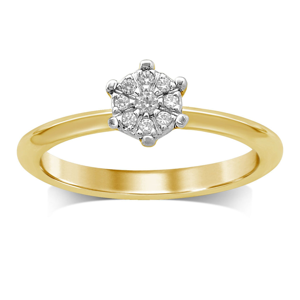 Flower Ring with 0.10ct of Diamonds in 9ct Yellow Gold Rings Bevilles