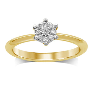Flower Ring with 0.10ct of Diamonds in 9ct Yellow Gold