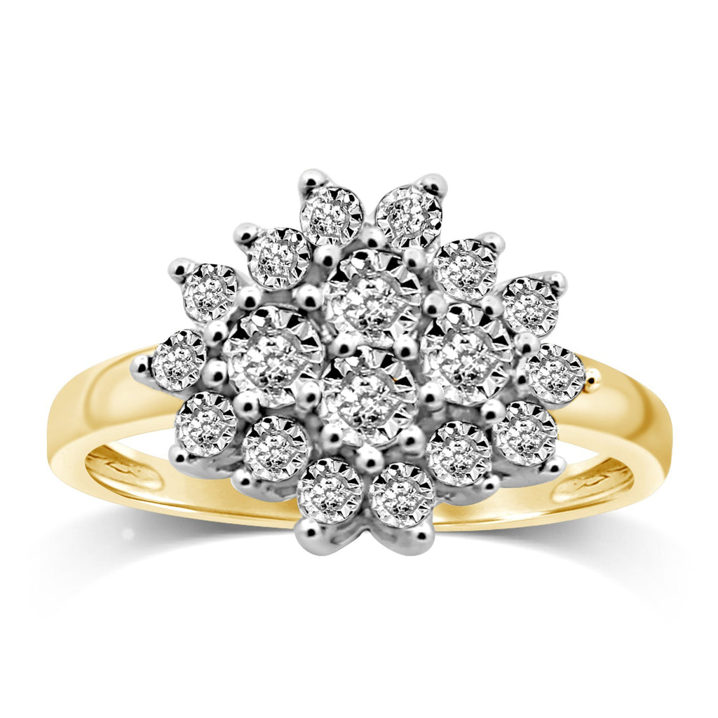 Brilliant Diamond Cluster Ring in 9ct Yellow Gold Rings Bevilles