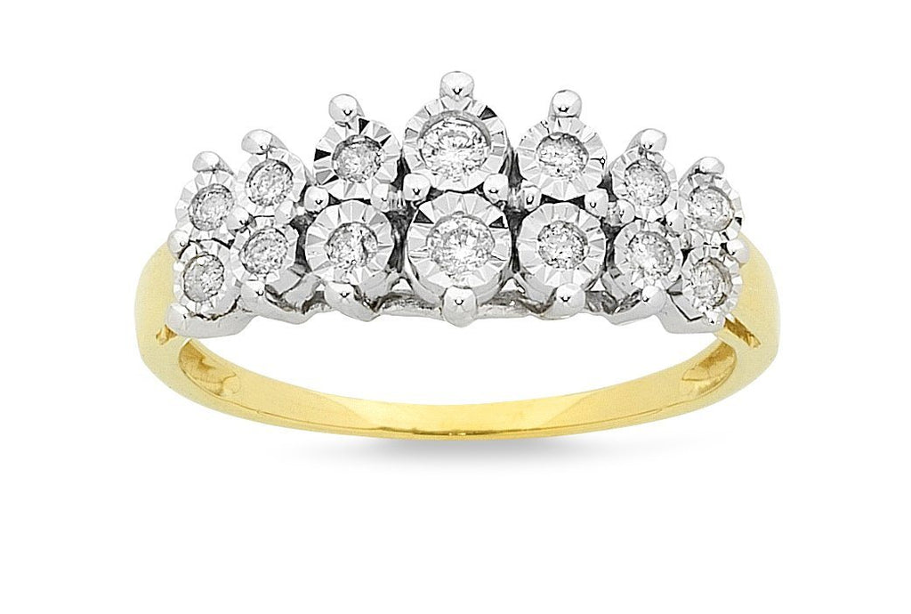 Brilliant Set Two Row Ring with 1/4ct of Diamonds in 9ct Yellow Gold Rings Bevilles