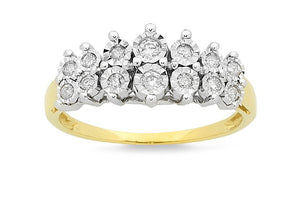 Brilliant Set Two Row Ring with 1/4ct of Diamonds in 9ct Yellow Gold