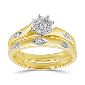 Twin Ring Set with 1/4ct of Diamonds in 9ct Yellow Gold