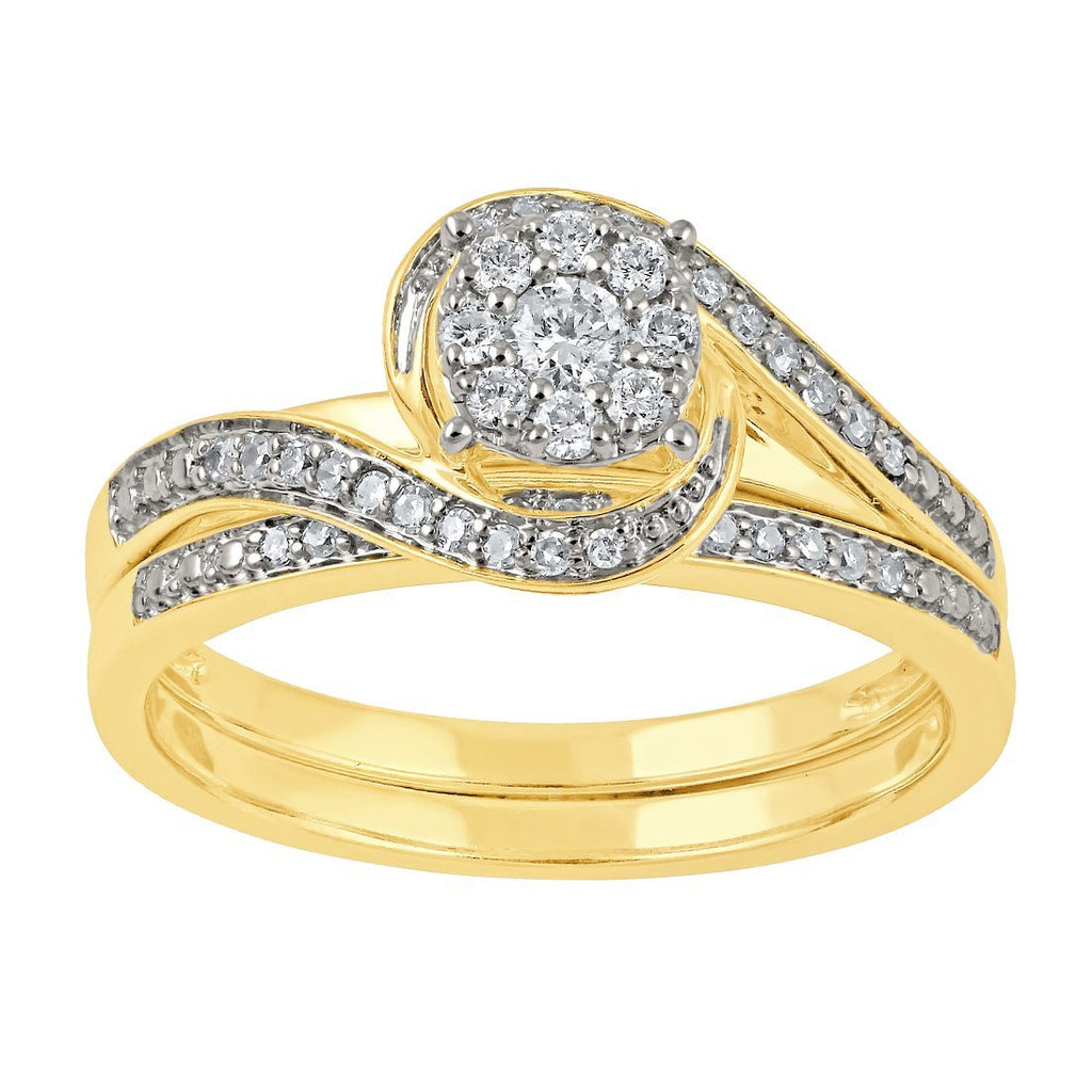 Two Ring Wedder Set with 1/3ct of Diamonds in 9ct Yellow Gold Rings Bevilles