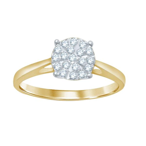 Martina Cluster Solitaire Look Halo Ring with 0.25ct of Diamonds in 9ct Yellow Gold Rings Bevilles