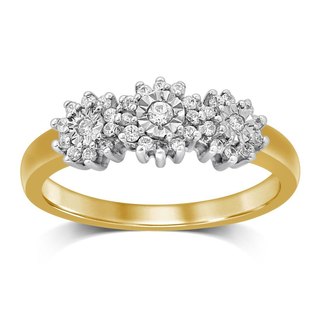 Brilliant Illusion Trilogy Ring with 1/5ct of Diamonds in 9ct Yellow Gold Rings Bevilles