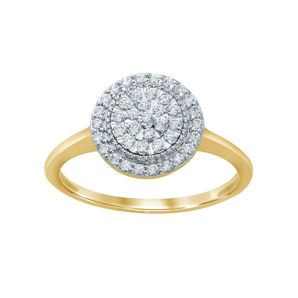 Composite Halo Ring with 1/4ct of Diamonds in 9ct Yellow Gold Rings Bevilles