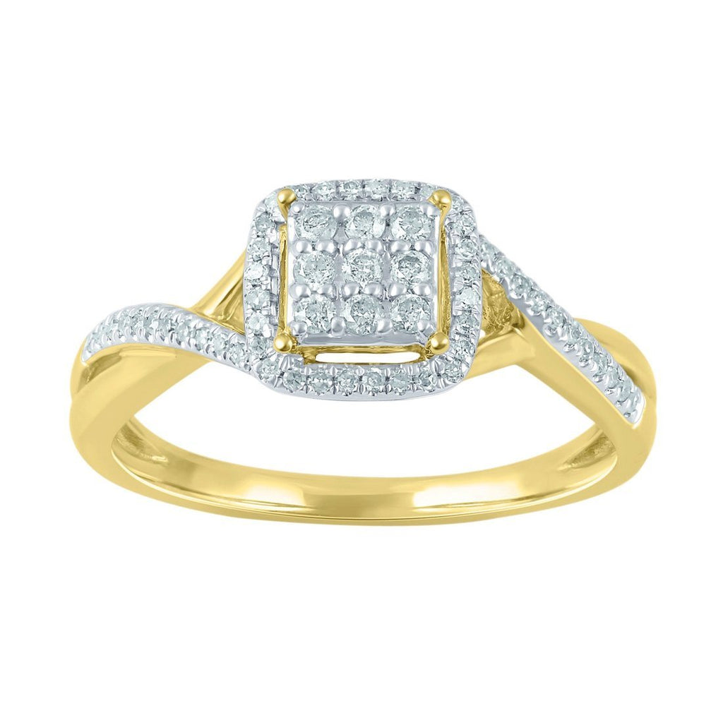 Brilliant Square Look Halo Ring with 1/5ct of Diamonds in 9ct Yellow Gold
