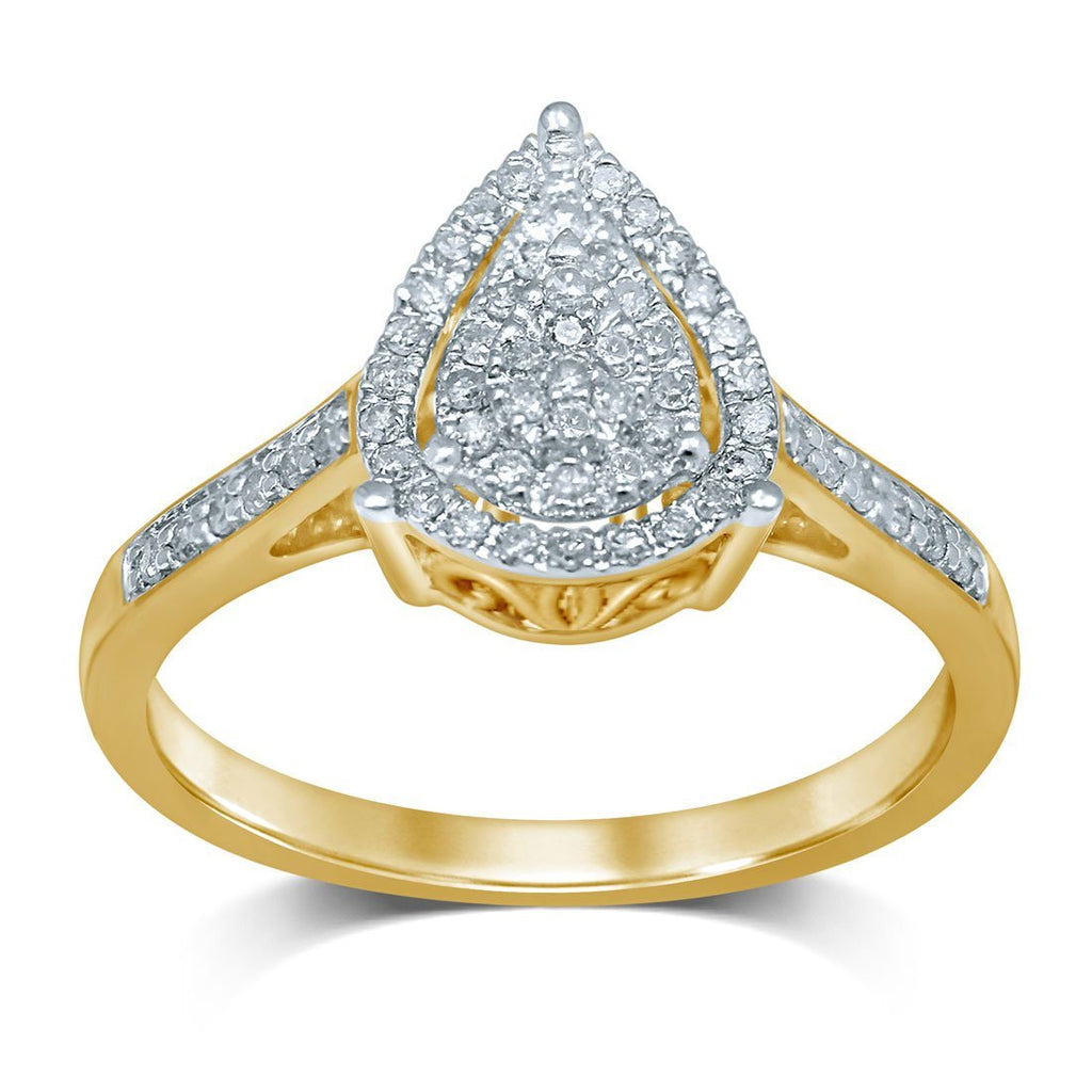 Pear Shape Halo Ring with 1/4ct of Diamonds in 9ct Yellow Gold