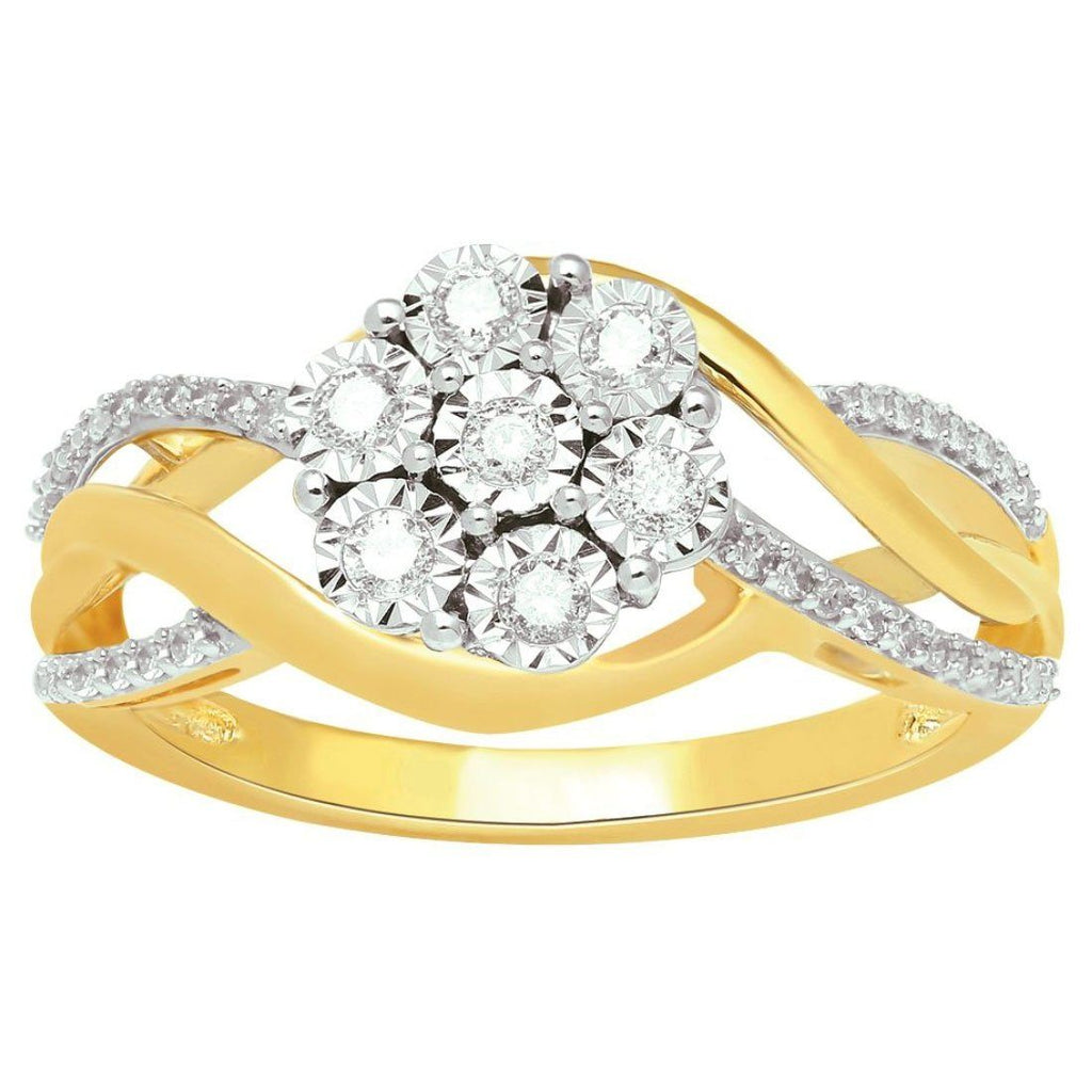 Miracle Flower Ring with 1/4ct of Diamonds in 9ct Yellow Gold