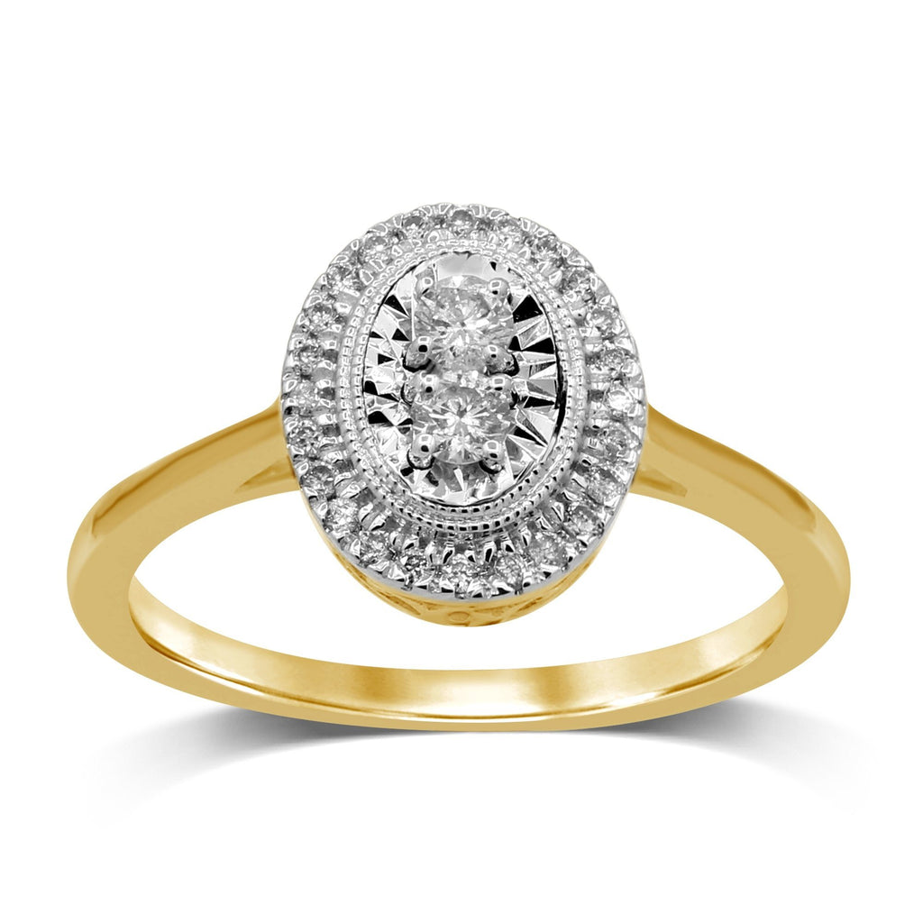 Miracle Halo Ring with 1/5 of Diamonds in 9ct Yellow Gold