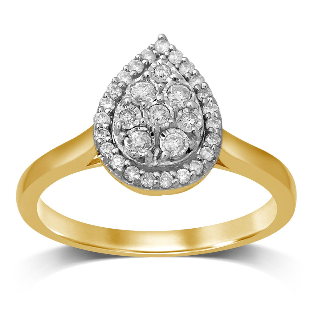 Brilliant Halo Pear Ring with 1/4ct of Diamonds in 9ct Yellow Gold Rings Bevilles