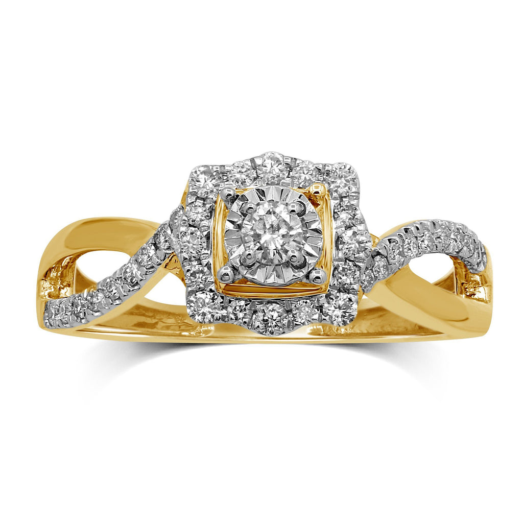 Solitaire Miracle Square Look Ring with 1/3ct of Diamonds in 9ct Yellow Gold Rings Bevilles